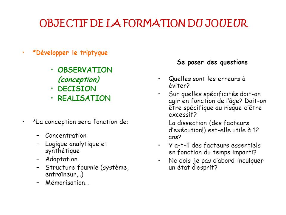 OBJECTIF DE LA FORMATION DU JOUEUR