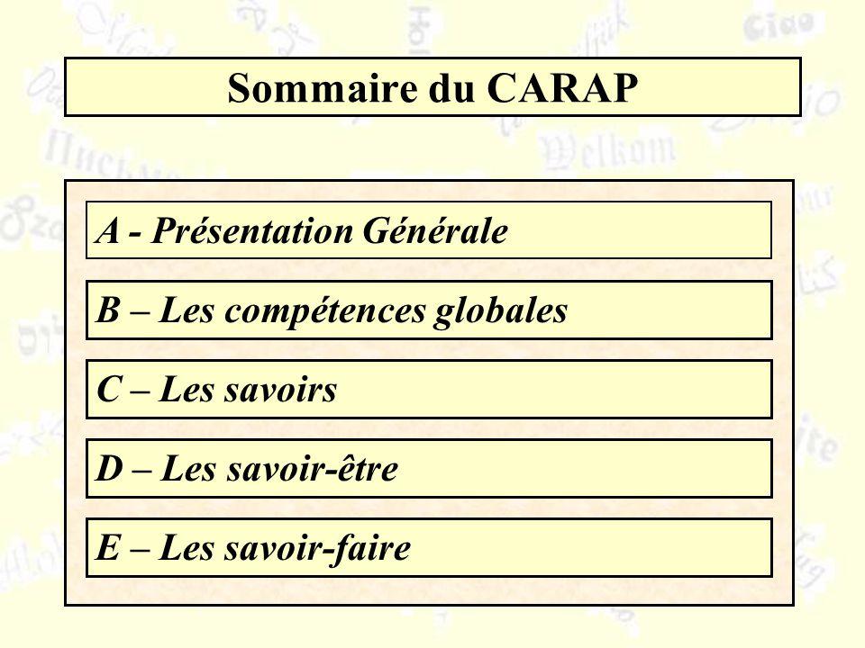Sommaire du CARAP A - Présentation Générale