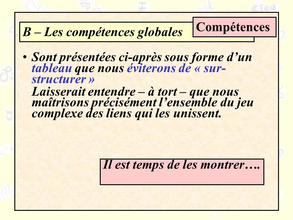 Compétences B – Les compétences globales. Sont présentées ci-après sous forme d'un tableau que nous éviterons de « sur-structurer »