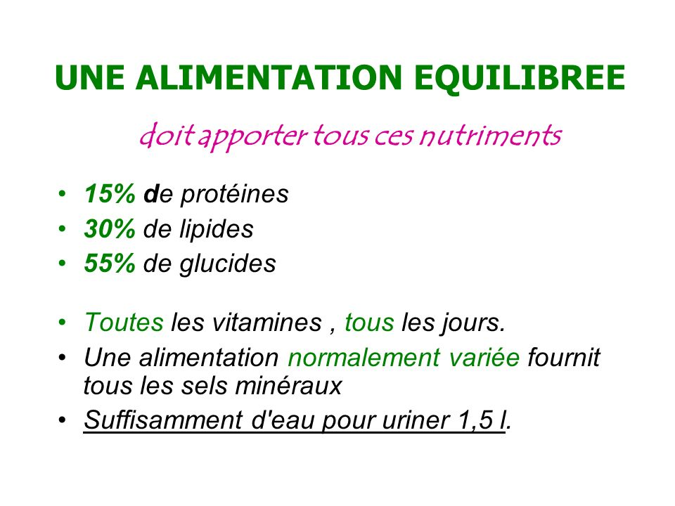 UNE ALIMENTATION EQUILIBREE
