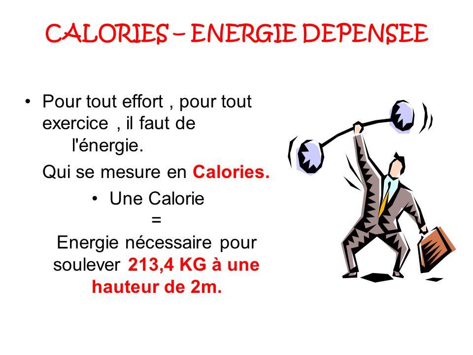 CALORIES – ENERGIE DEPENSEE