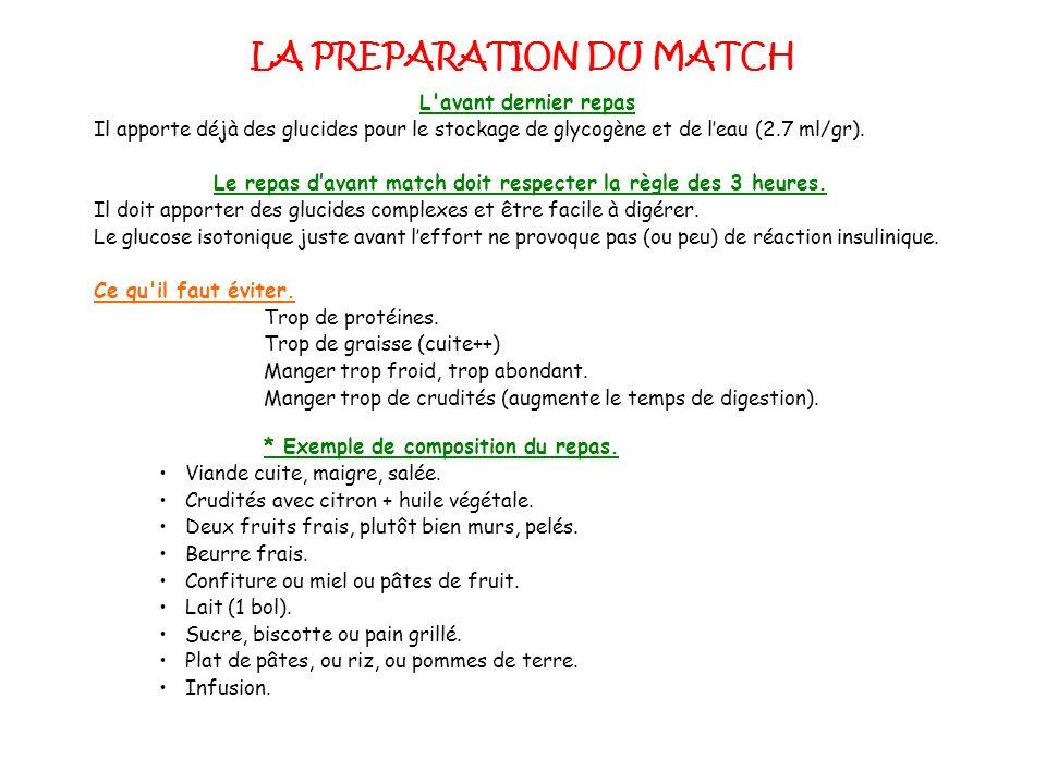 LA PREPARATION DU MATCH