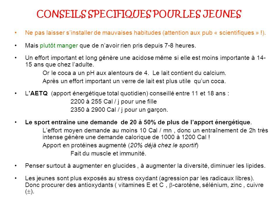 CONSEILS SPECIFIQUES POUR LES JEUNES