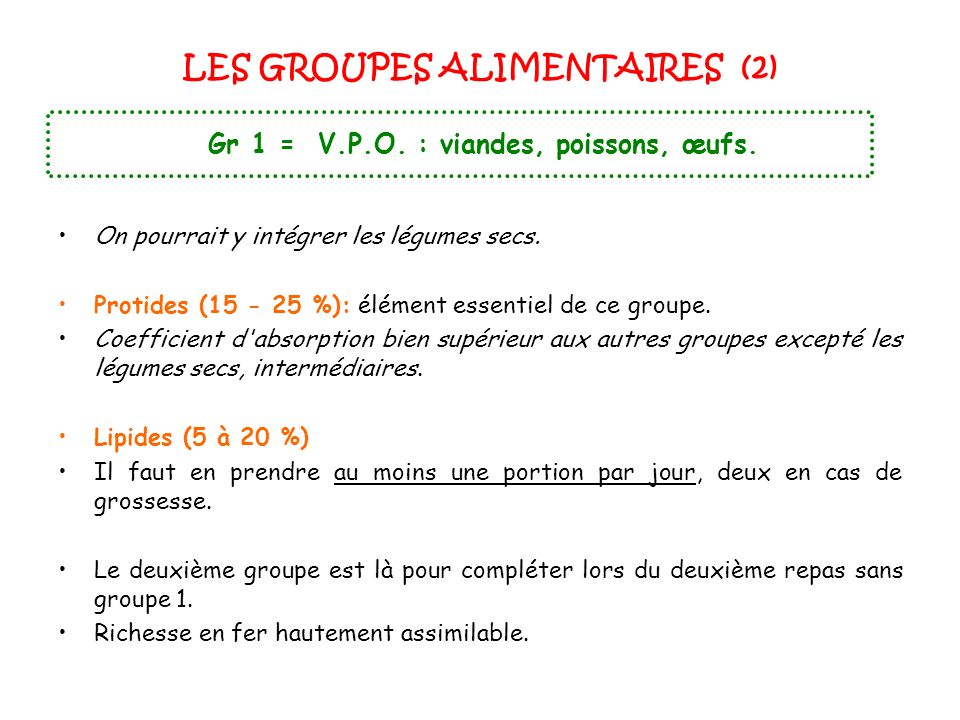 LES GROUPES ALIMENTAIRES (2)