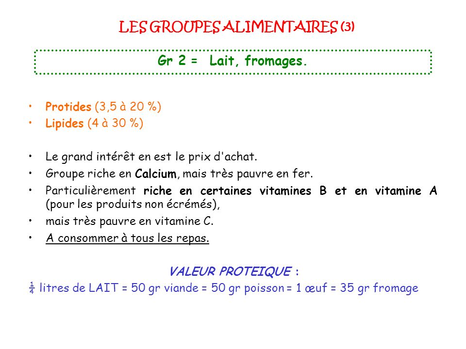 LES GROUPES ALIMENTAIRES (3)