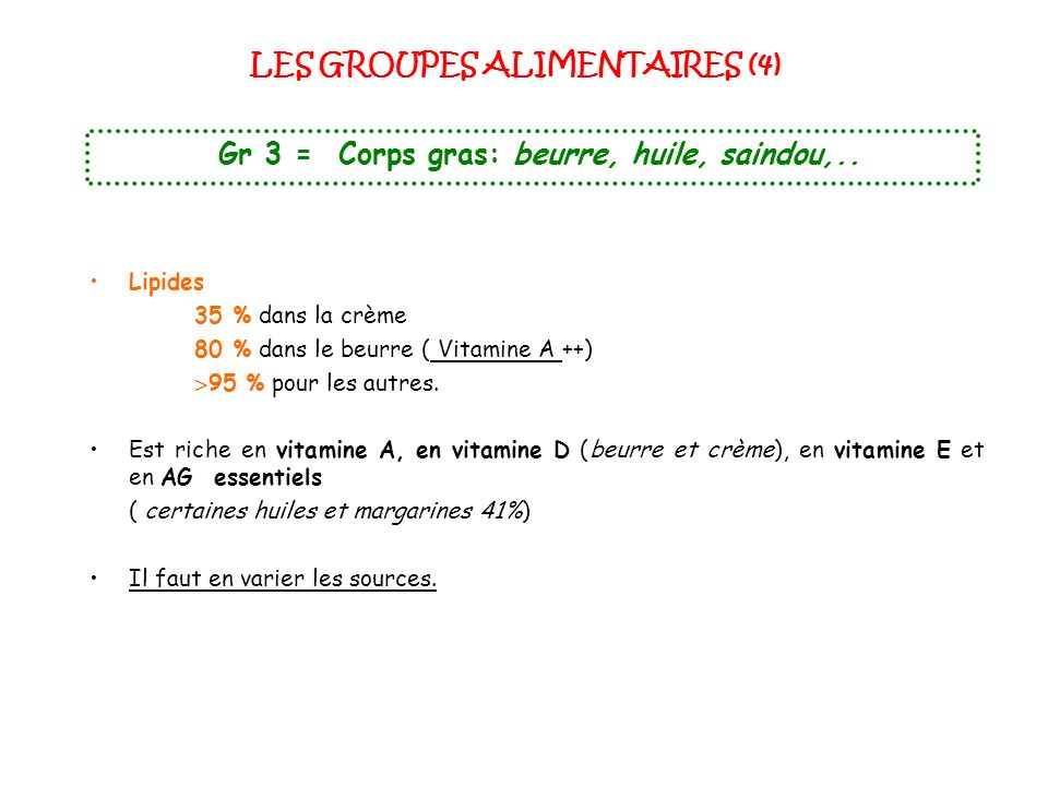 LES GROUPES ALIMENTAIRES (4)