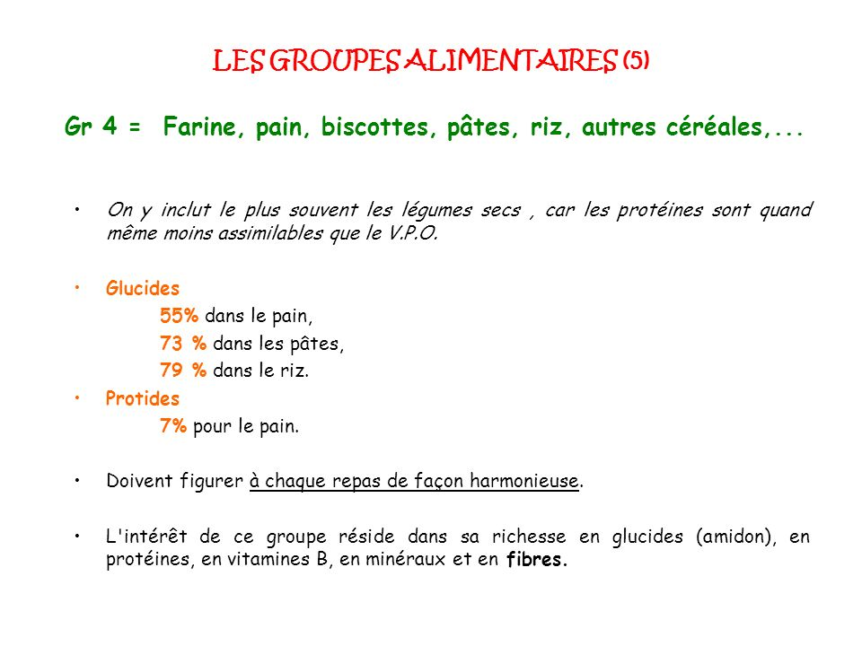 LES GROUPES ALIMENTAIRES (5)