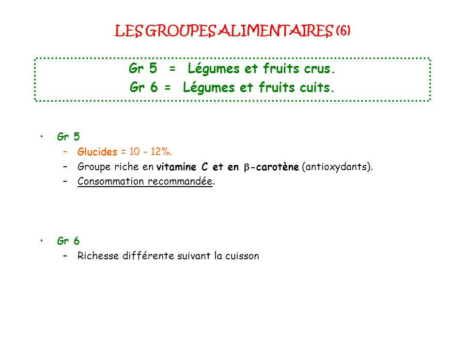 LES GROUPES ALIMENTAIRES (6)