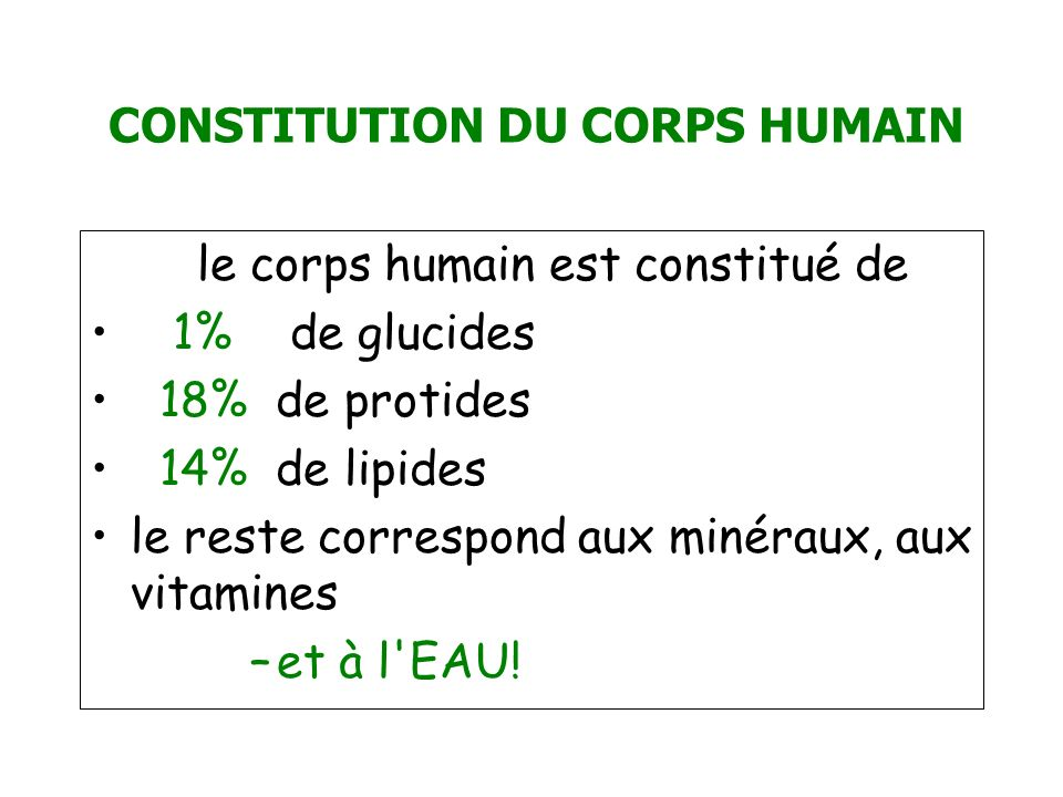 CONSTITUTION DU CORPS HUMAIN