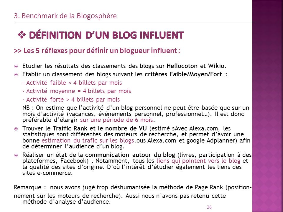 Définition d'un blog influent