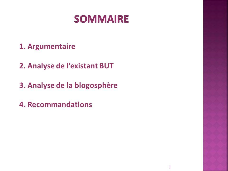 SOMMAIRE1.Argumentaire 2. Analyse de l'existant BUT 3.