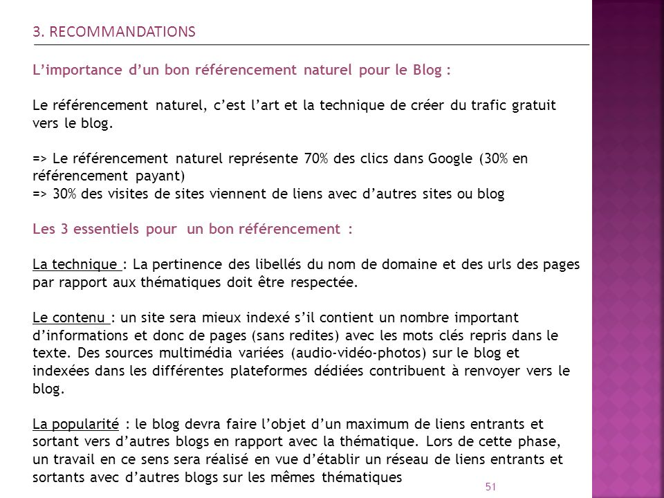 3. RECOMMANDATIONS L'importance d'un bon référencement naturel pour le Blog :