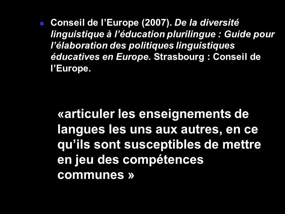 Conseil de l'Europe (2007). De la diversité linguistique à l'éducation plurilingue : Guide pour l'élaboration des politiques linguistiques éducatives en Europe. Strasbourg : Conseil de l'Europe.