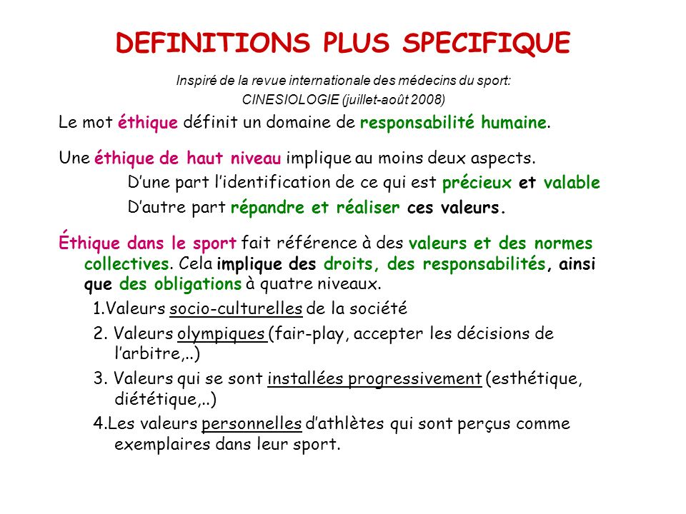 DEFINITIONS PLUS SPECIFIQUE
