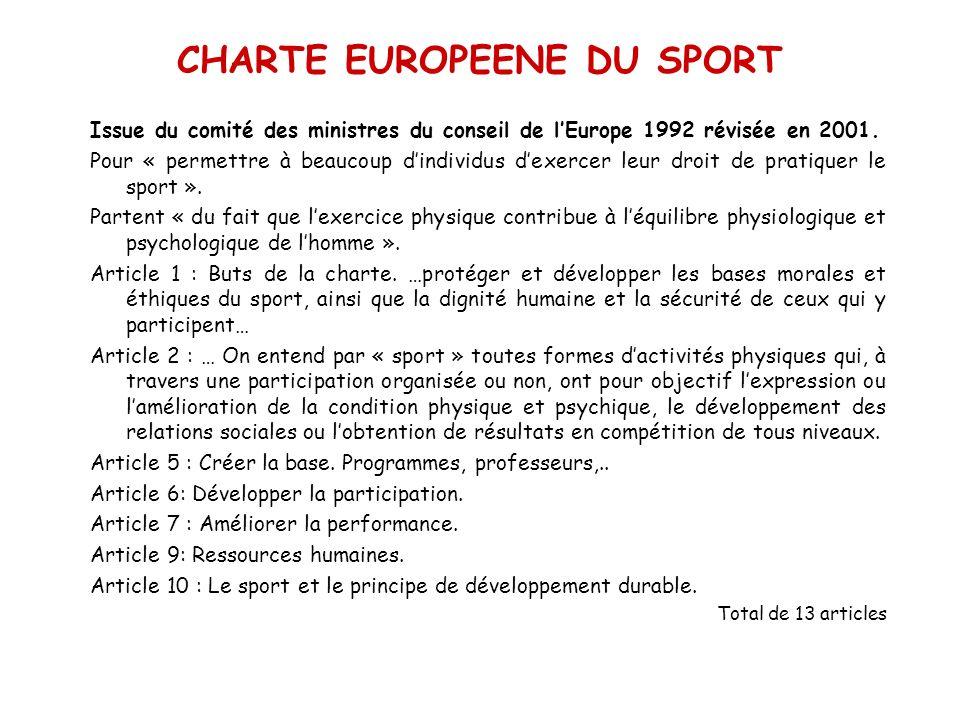 CHARTE EUROPEENE DU SPORT
