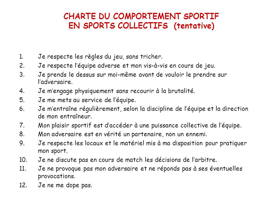 CHARTE DU COMPORTEMENT SPORTIF EN SPORTS COLLECTIFS (tentative)