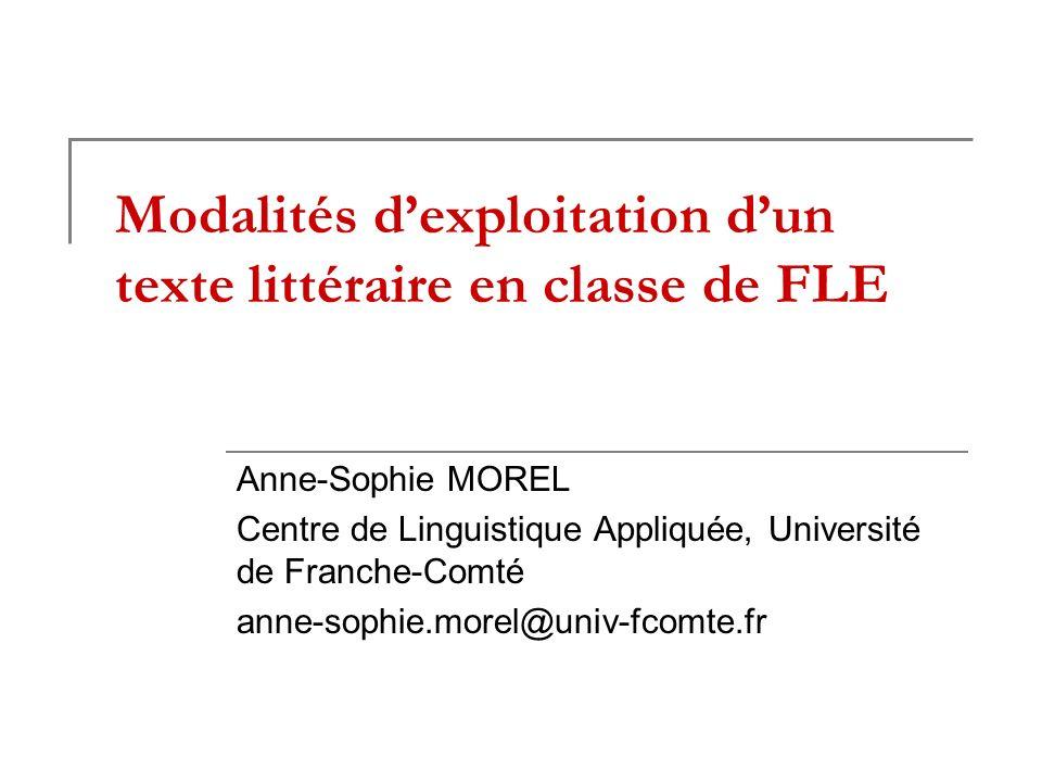 Modalités d'exploitation d'un texte littéraire en classe de FLE