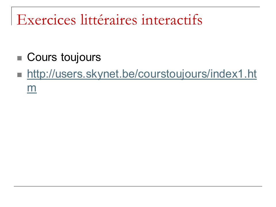 Exercices littéraires interactifs