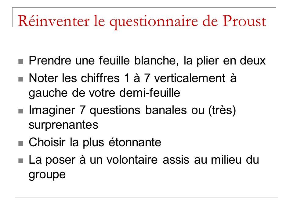 Réinventer le questionnaire de Proust