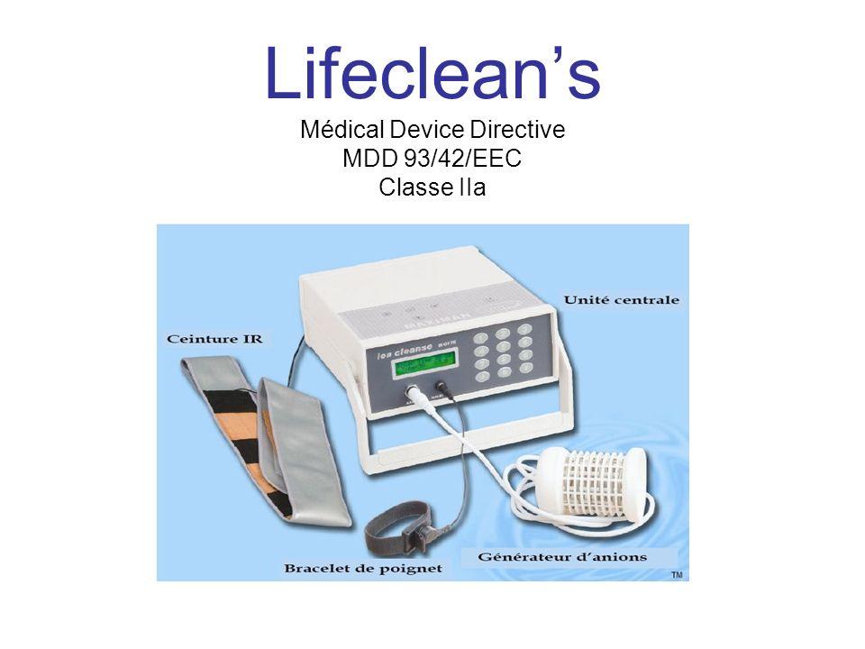 Lifeclean's Médical Device Directive MDD 93/42/EEC Classe IIa