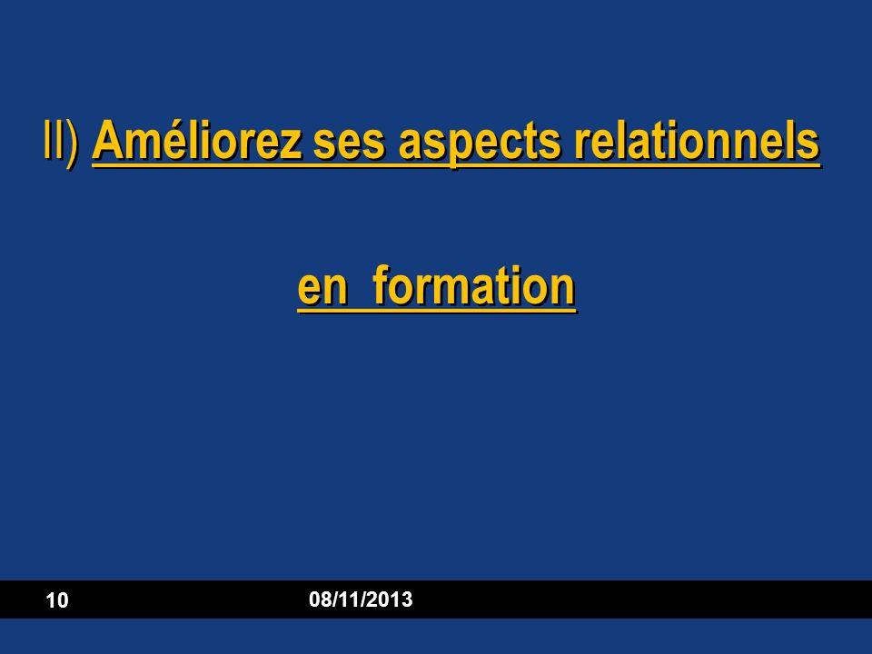 II) Améliorez ses aspects relationnels en formation