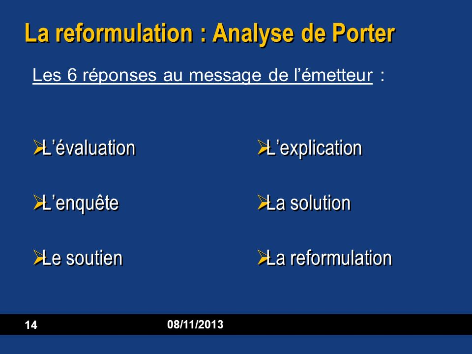 La reformulation : Analyse de Porter