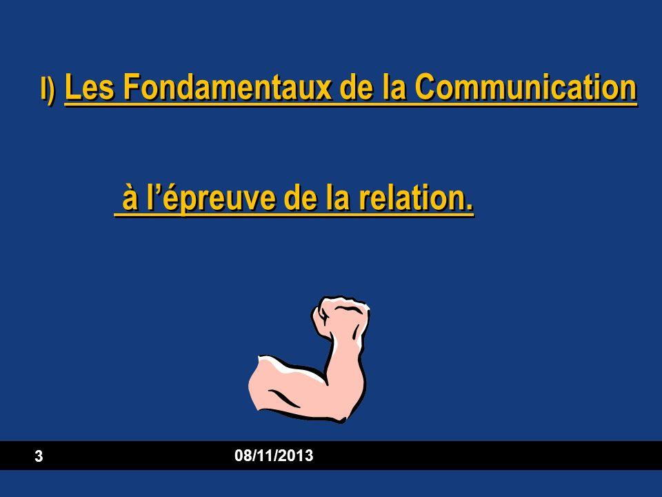 I) Les Fondamentaux de la Communication à l'épreuve de la relation.