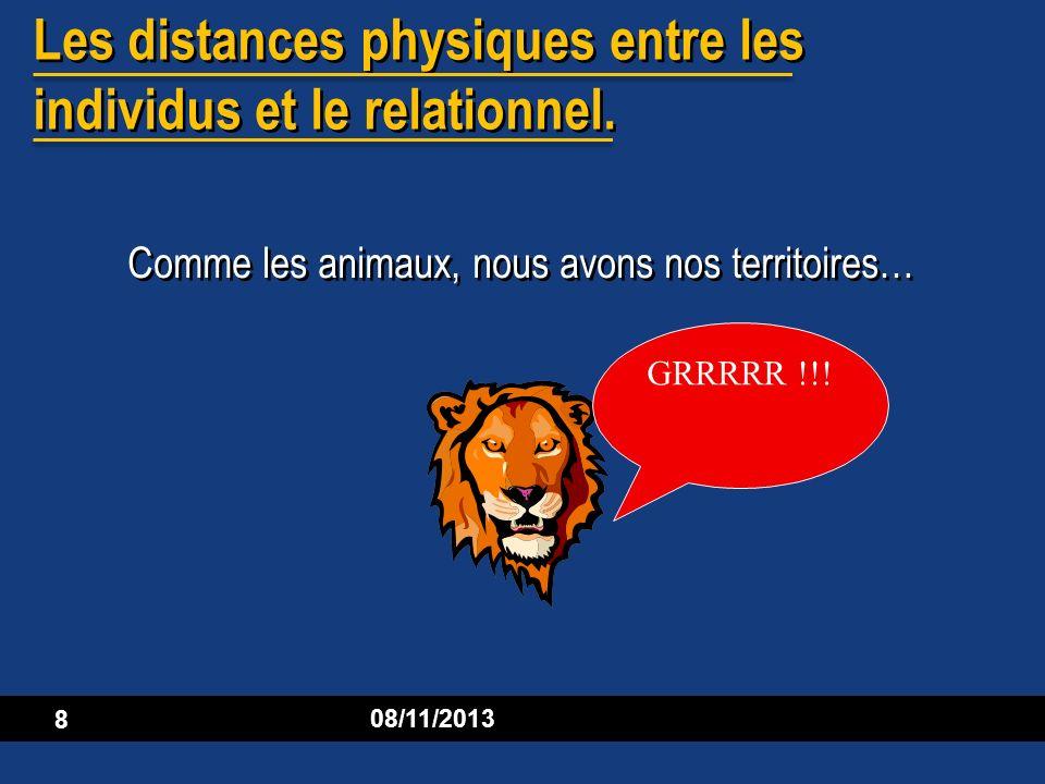 Les distances physiques entre les individus et le relationnel.