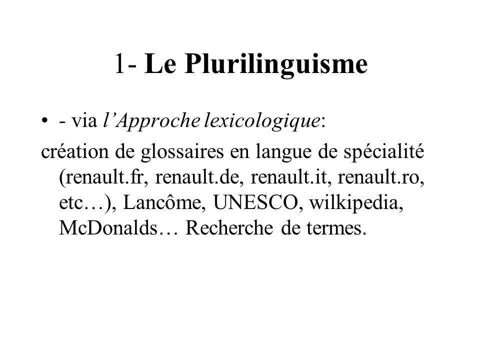 1- Le Plurilinguisme - via l'Approche lexicologique: