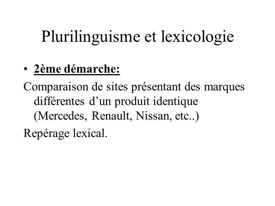 Plurilinguisme et lexicologie