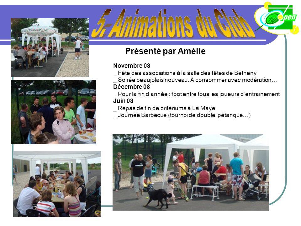5. Animations du Club Présenté par Amélie Novembre 08
