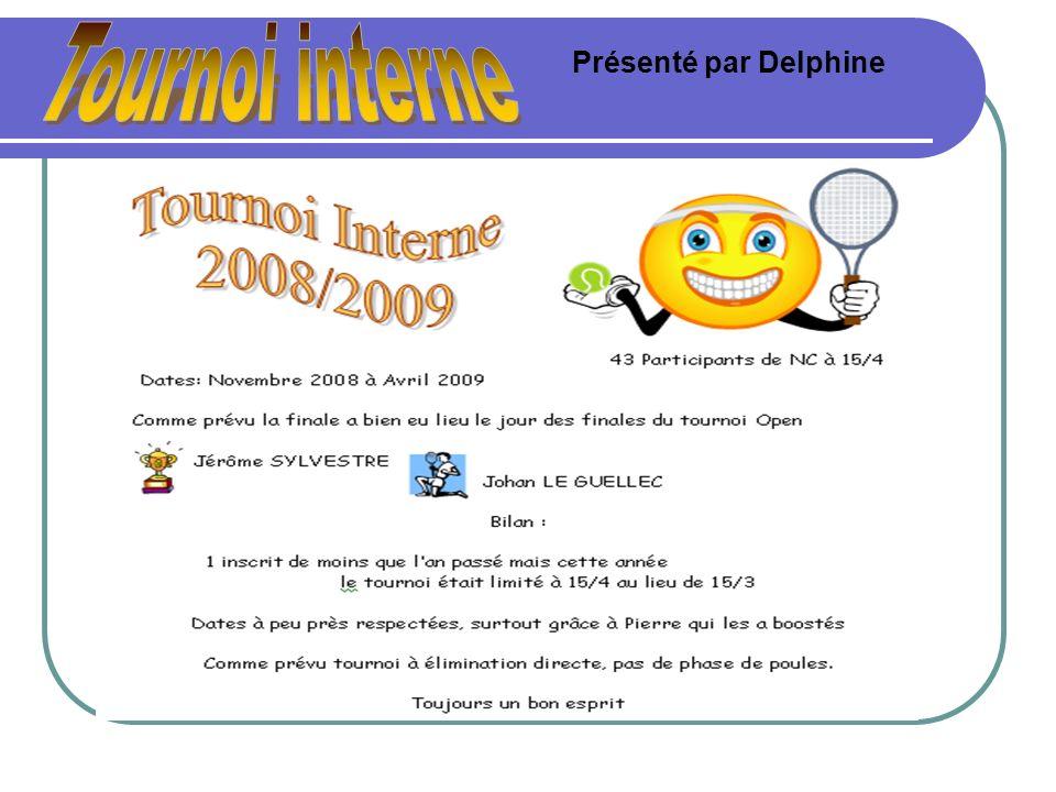 Tournoi interne Présenté par Delphine