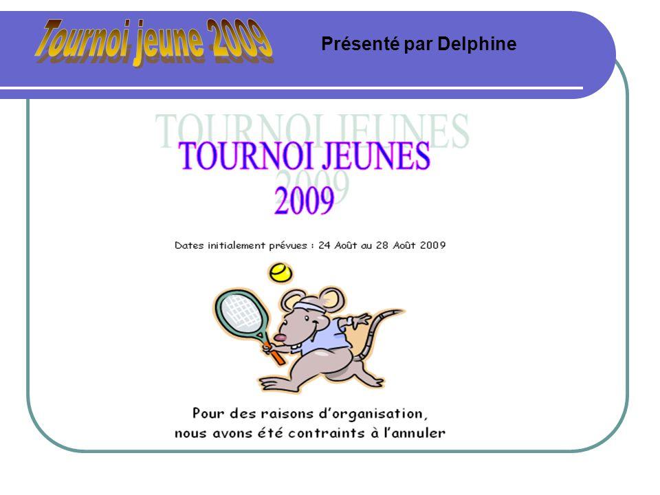 Tournoi jeune 2009 Présenté par Delphine