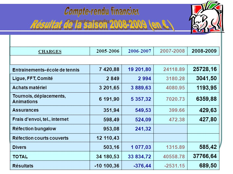 Compte-rendu financier Résultat de la saison 2008-2009 (en € )
