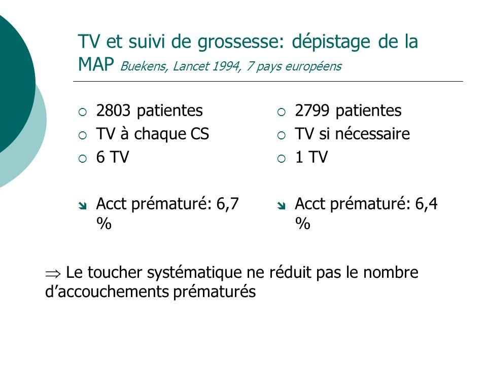TV et suivi de grossesse: dépistage de la MAP Buekens, Lancet 1994, 7 pays européens