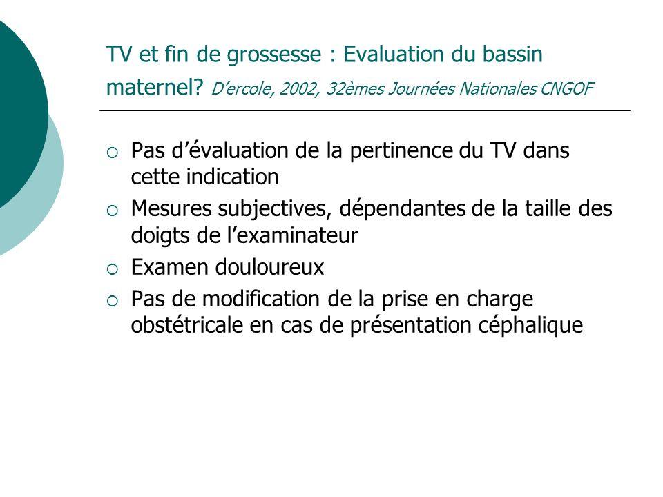 TV et fin de grossesse : Evaluation du bassin maternel