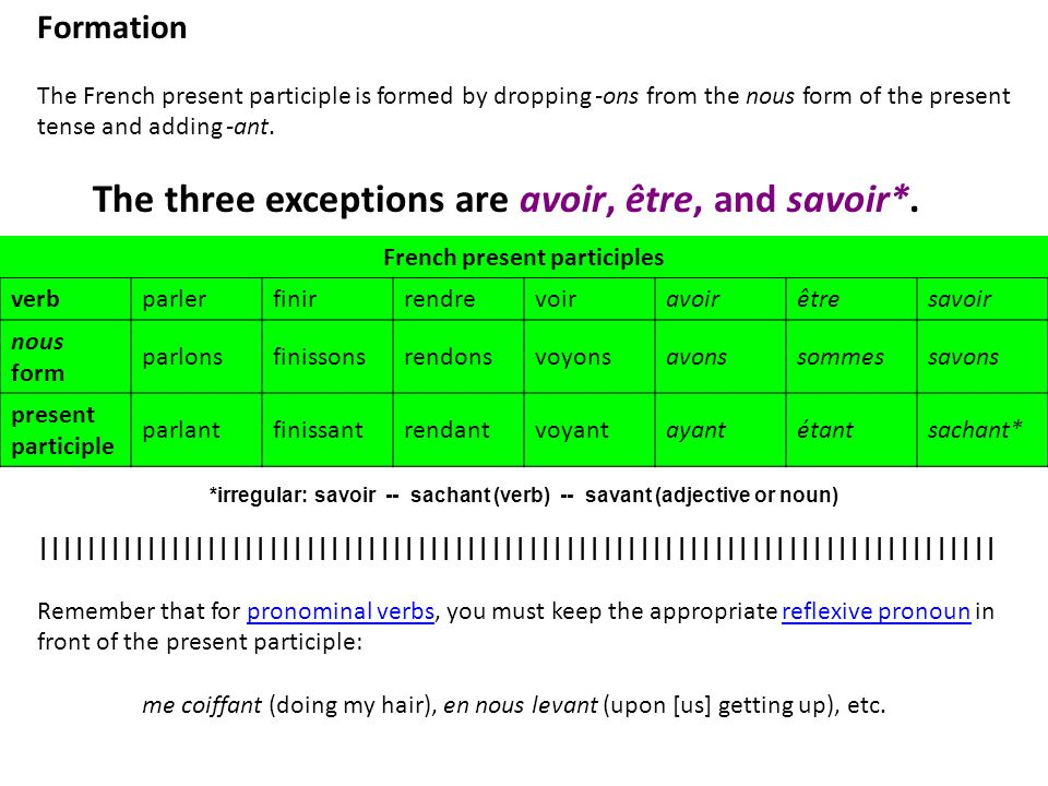 The three exceptions are avoir, être, and savoir*.
