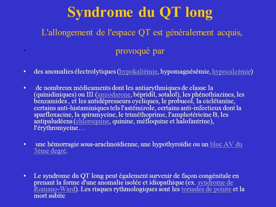 Syndrome du QT long L allongement de l espace QT est généralement acquis, provoqué par