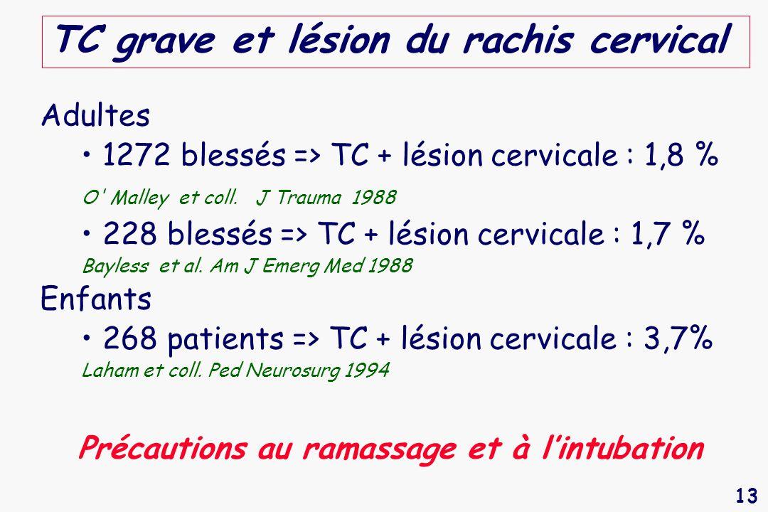 TC grave et lésion du rachis cervical
