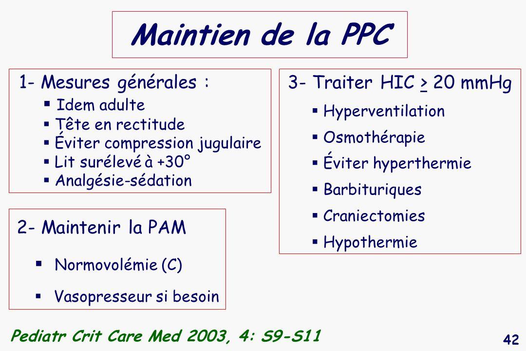 Maintien de la PPC 1- Mesures générales : 3- Traiter HIC > 20 mmHg