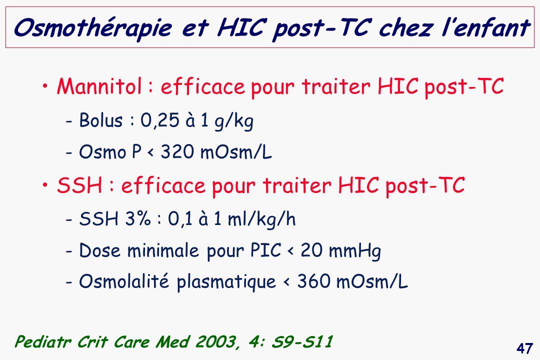 Osmothérapie et HIC post-TC chez l'enfant