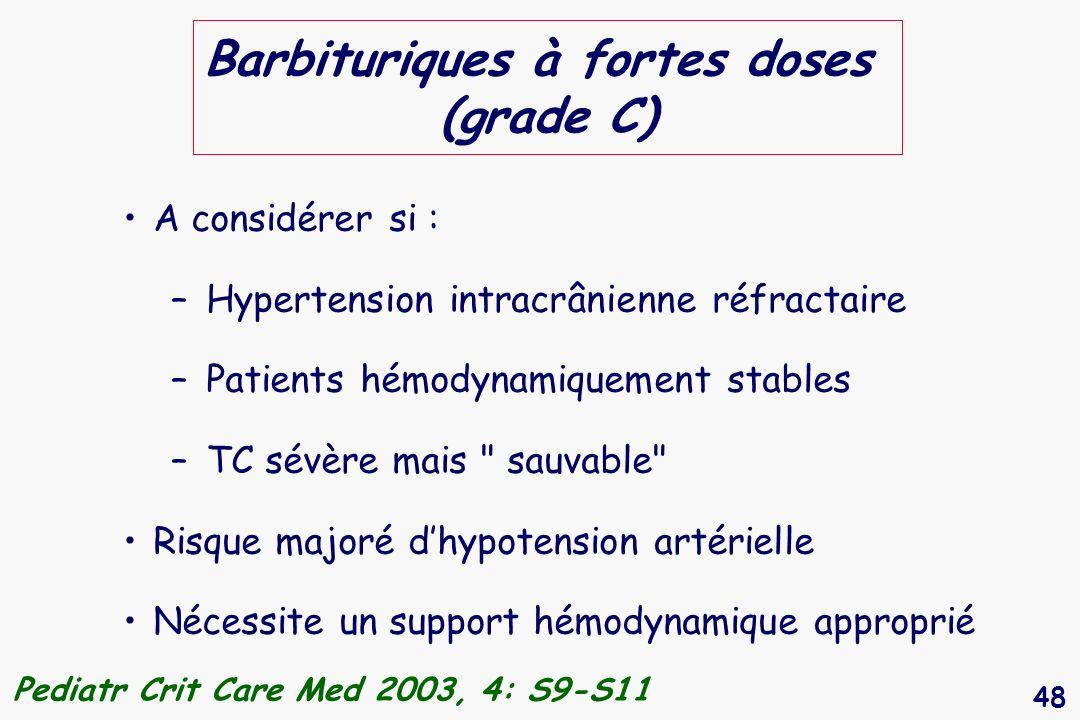 Barbituriques à fortes doses (grade C)