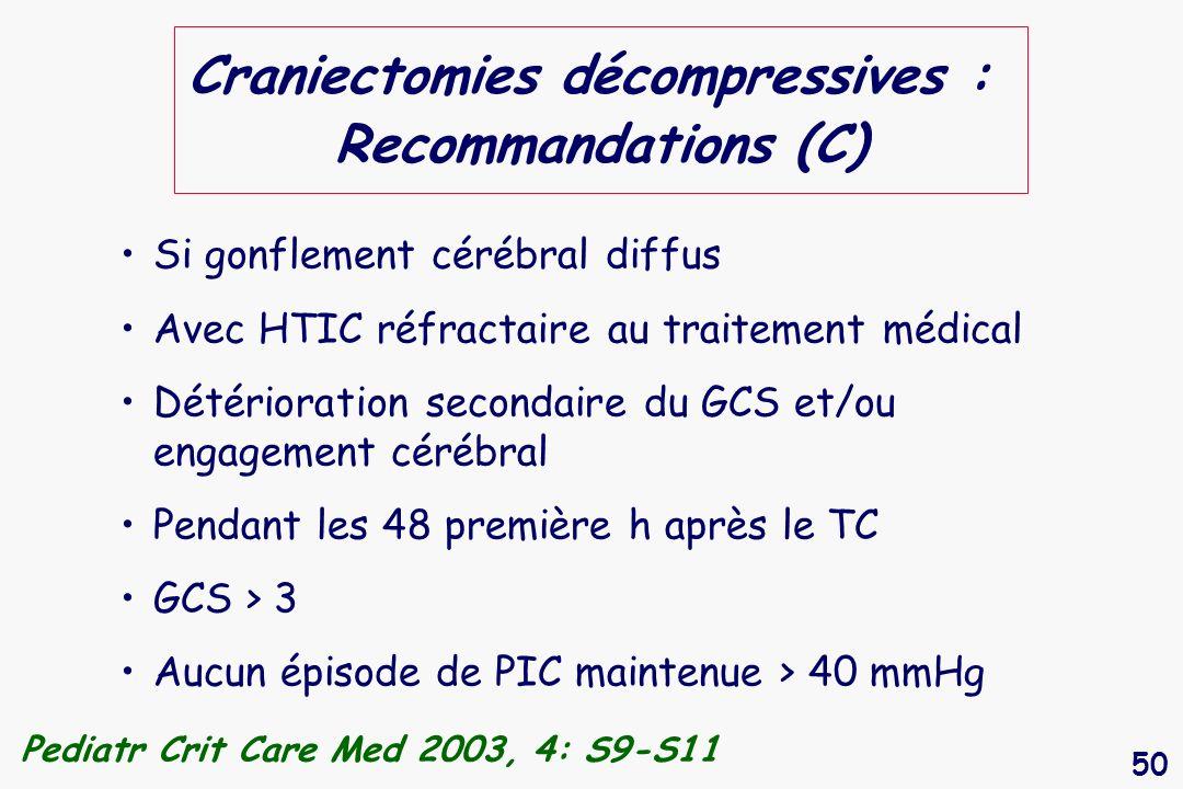 Craniectomies décompressives : Recommandations (C)