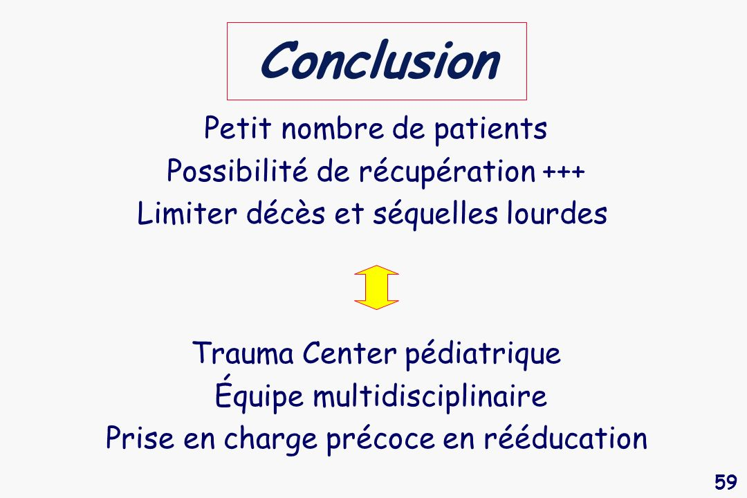 Conclusion Petit nombre de patients Possibilité de récupération +++