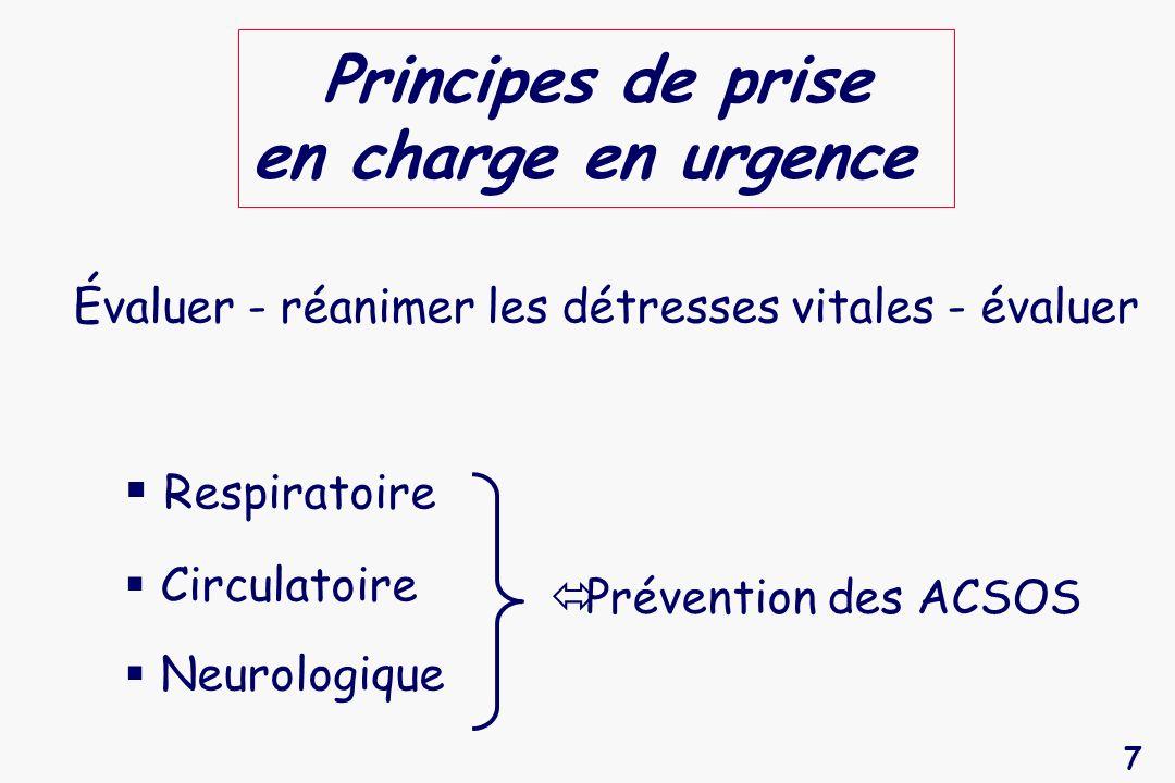 Principes de prise en charge en urgence