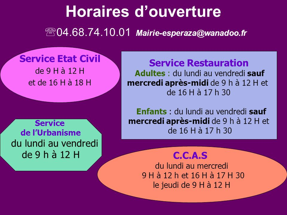 Horaires d'ouverture 04.68.74.10.01 Mairie-esperaza@wanadoo.fr
