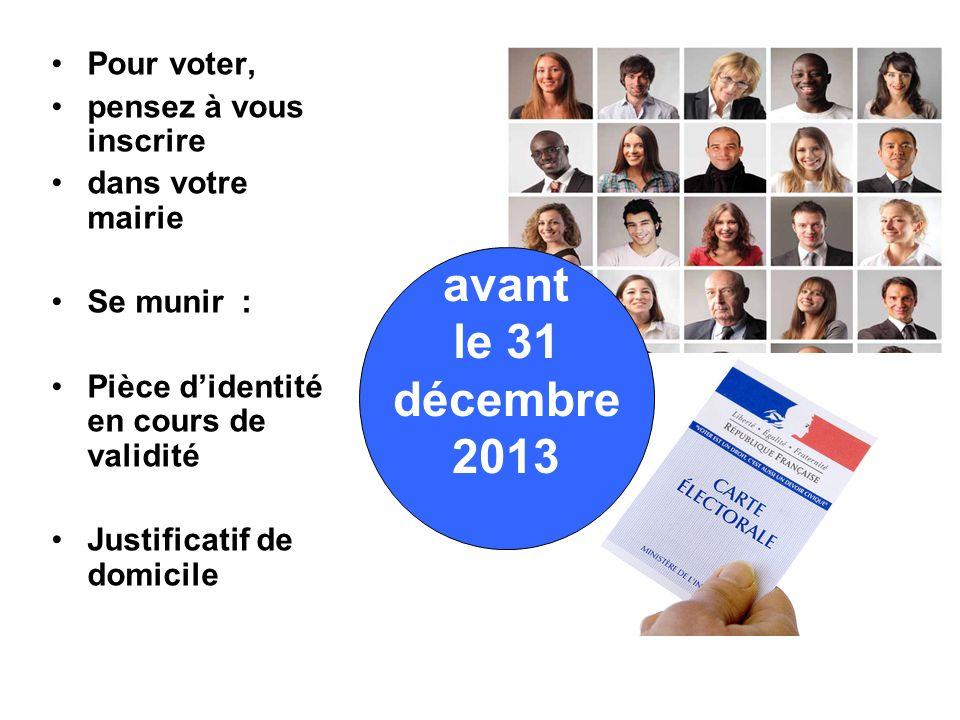 avant le 31 décembre 2013 Pour voter, pensez à vous inscrire