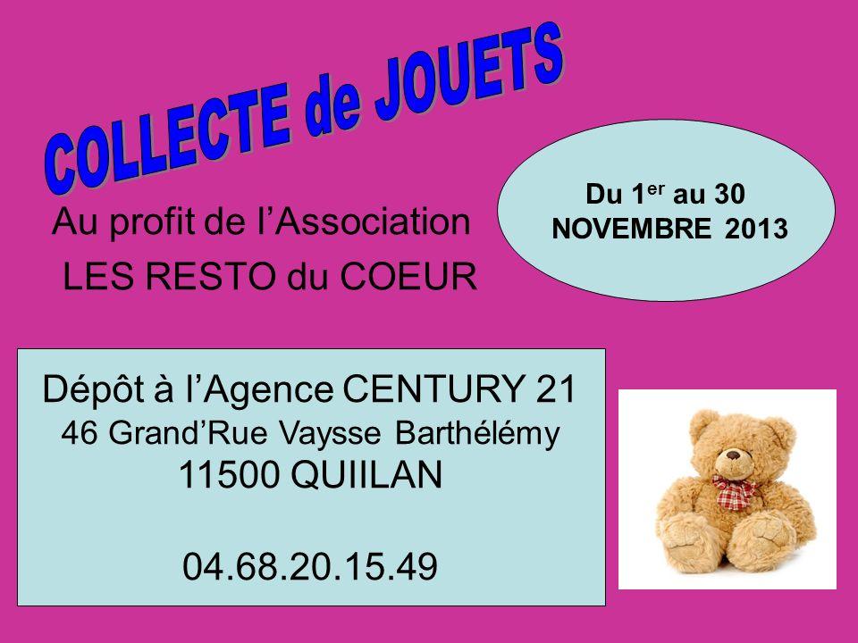 COLLECTE de JOUETS Au profit de l'Association LES RESTO du COEUR