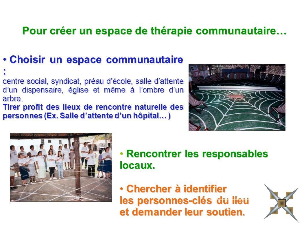 Pour créer un espace de thérapie communautaire…