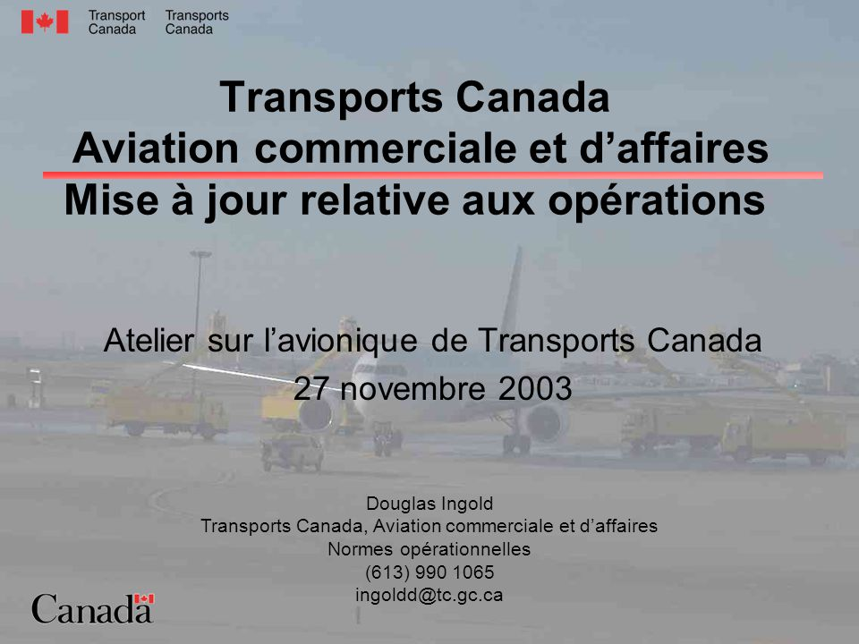 C&BA Operational Update Avionics Workshop 2003